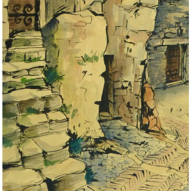 Impressive watercolor landscape of a charming old world scene of a village in Provence, France by artist Augustin Faure,...