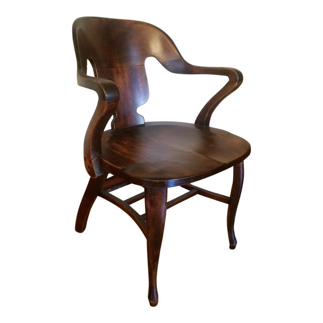Vintage Restored Wooden Office Chair - Image 1 of 9