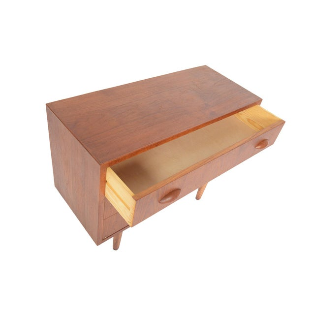 Danish Modern Danish Modern Teak Orange Slice Pull Gentleman's Chest For Sale - Image 3 of 6