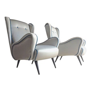 Italian Armchairs Lounge Chairs 1950s Vintage Midcentury Blue Upholstered For Sale