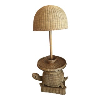 Vintage Wicker Turtle Floor Lamp End Side Table