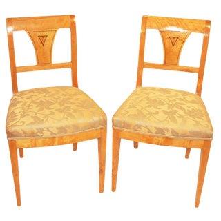 Pair of Biedermeier Side Chairs For Sale