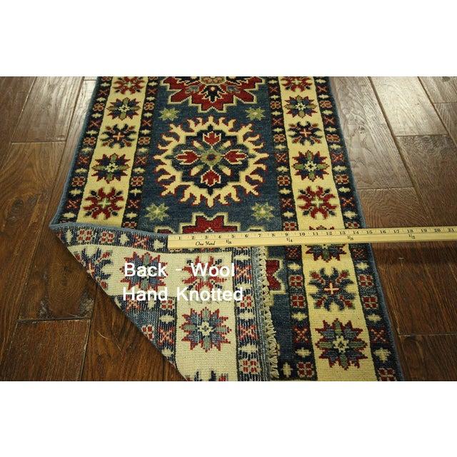 Blue/Ivory Super Kazak Wool Runner - 2'x10' - Image 10 of 10