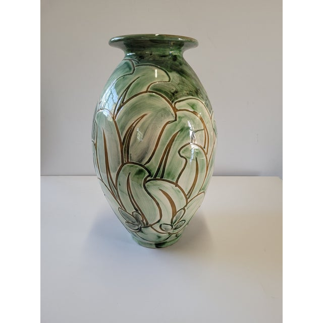 Green 1940s Large Studio Pottery Vase by Zoltan Kiss for Knabstrup For Sale - Image 8 of 8