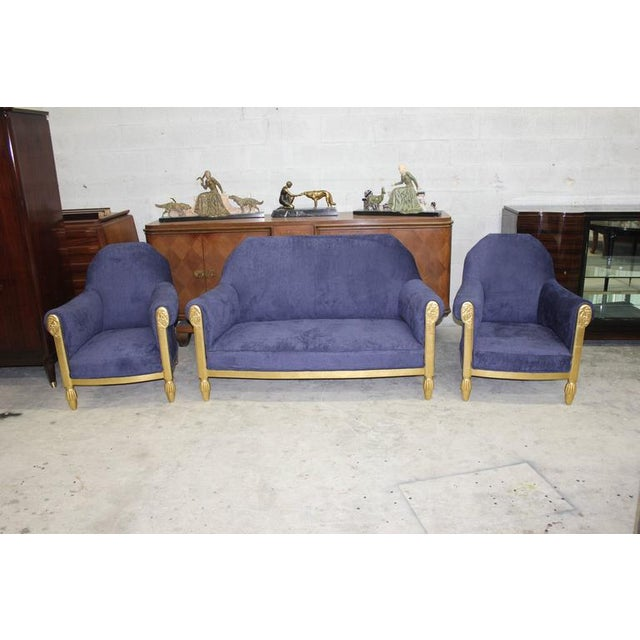 Paul Follot French Art Deco Paul Follot Settee & Chairs - Set of 3 For Sale - Image 4 of 10