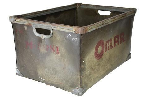 Merveilleux Vintage Industrial Metal Storage Bin   Image 3 Of 5