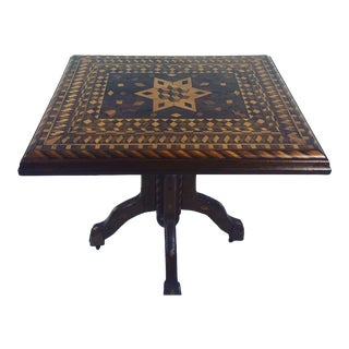 20th Century Folk Art Marquetry Inlaid Game Table For Sale