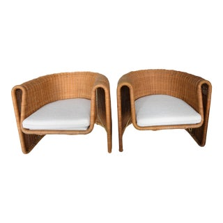 Mid Century Founders Biomorphic Free Form Floating Molded Wicker Chairs - a Pair