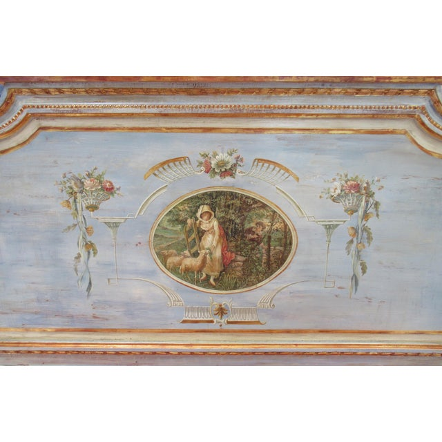 Blue Vintage 19th. Century French Napoleonic Parcel Gilt Painted Full Size Bedframe For Sale - Image 8 of 13