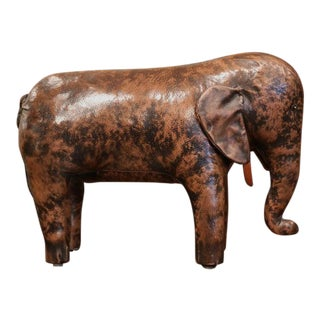 Vintage Spanish Brown Leather Elephant Sculpture Footstool For Sale