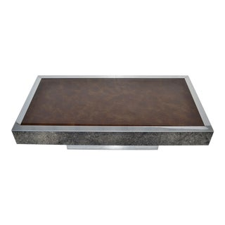 Willy Rizzo Style Italian Chrome & Brown Glass Coffee Table 1970, Pair Available For Sale