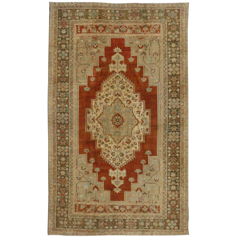 Vintage Turkish Oushak Rug With Arts And Craft Style 7 5 12 3