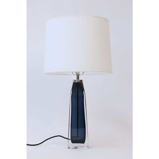 Mid-Century Modern Orrefors Blue Crystal Lamp For Sale - Image 3 of 9