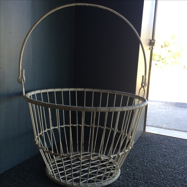 Vintage White Metal and Wire Basket - Image 3 of 7