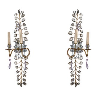 French Gilt with Mirrored Crystal Sunburst Sconces - a Pair For Sale
