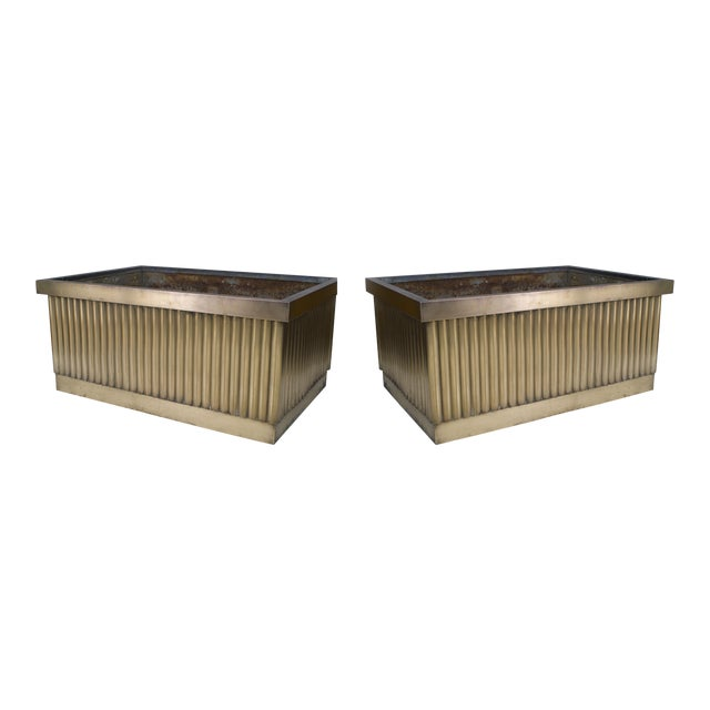 2 Pair Of American 1930's Monumental Rectangular Bronze Planters For Sale