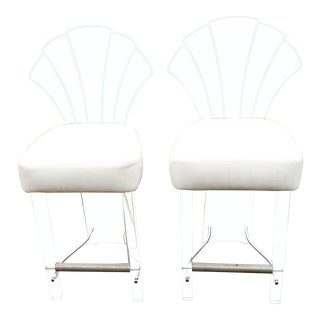 Mid-Century Modern Fan Back Acrylic Stools - a Pair For Sale