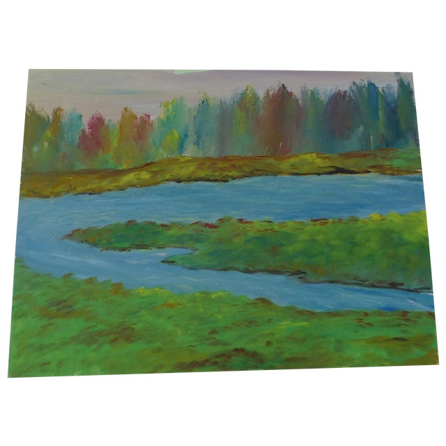 River's Edge Oil Painting by H.L. Musgrave - Image 1 of 6