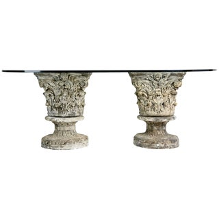 Cast Stone Corinthian Pedestal Dining Table with Glass Top For Sale