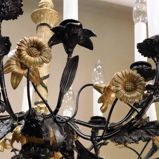 Black Neoclassical Style Foliate 14-Light Chandelier, France Circa 1905 For Sale - Image 8 of 9