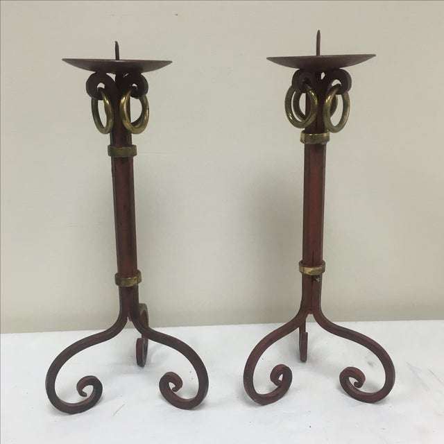 Red and Gold Metal Candleholders - 2 - Image 2 of 4