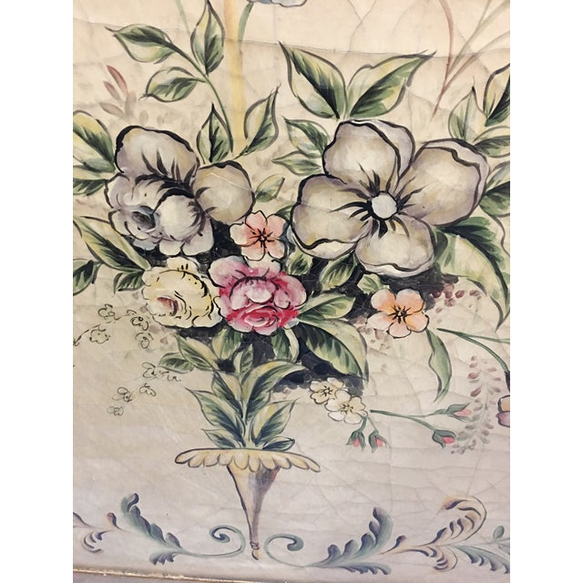 Early 20th Century Antique Painted Floral Canvas Panels - A Pair For Sale - Image 11 of 12