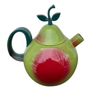 1980s Enamel Pear Teapot For Sale