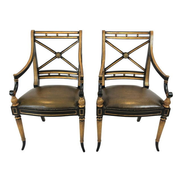 Regency Black and Gilded Armchairs With Leather Seats - a Pair For Sale