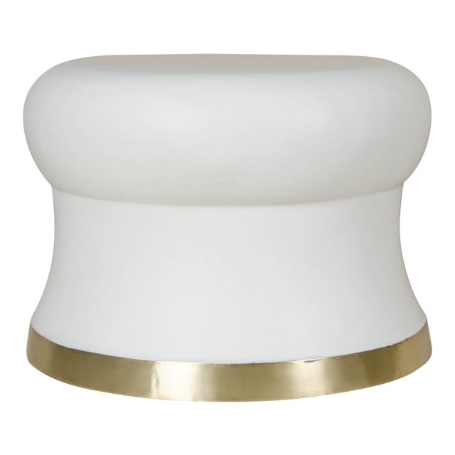 Dian Drumstool with Brass Trim For Sale