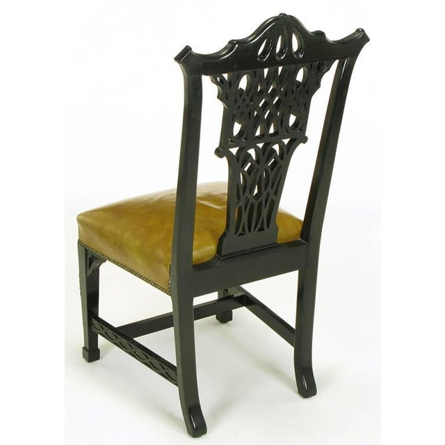 Eight Chinese Chippendale Ebonized Mahogany Dining Chairs with Leather Seats For Sale In Chicago - Image 6 of 10