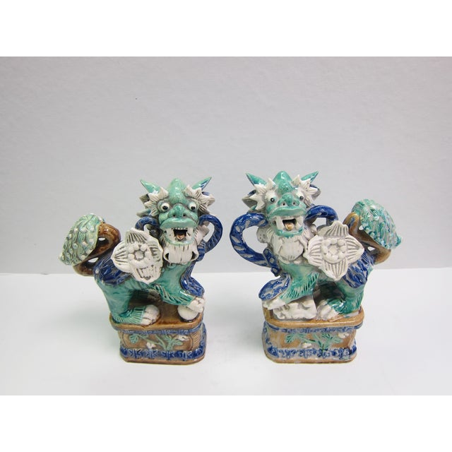 Vintage Turquoise Foo Dogs - A Pair - Image 7 of 8