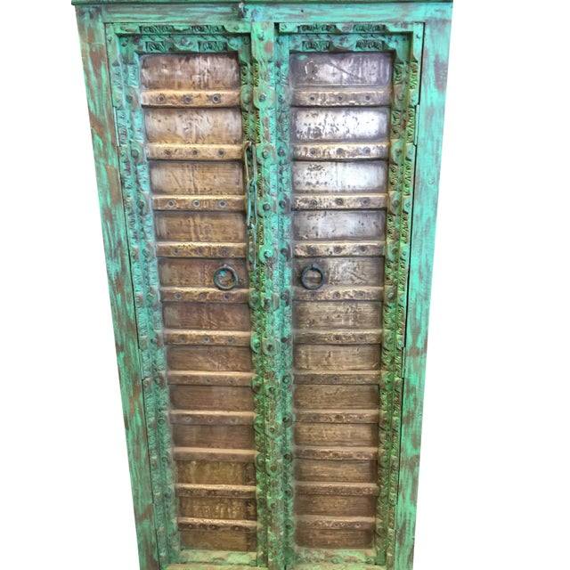 Boho Chic 1920s Jaypur Grounding Brass Vintage Green Patina Old Doors Storage Kitchen Cabinet For Sale - Image 3 of 8