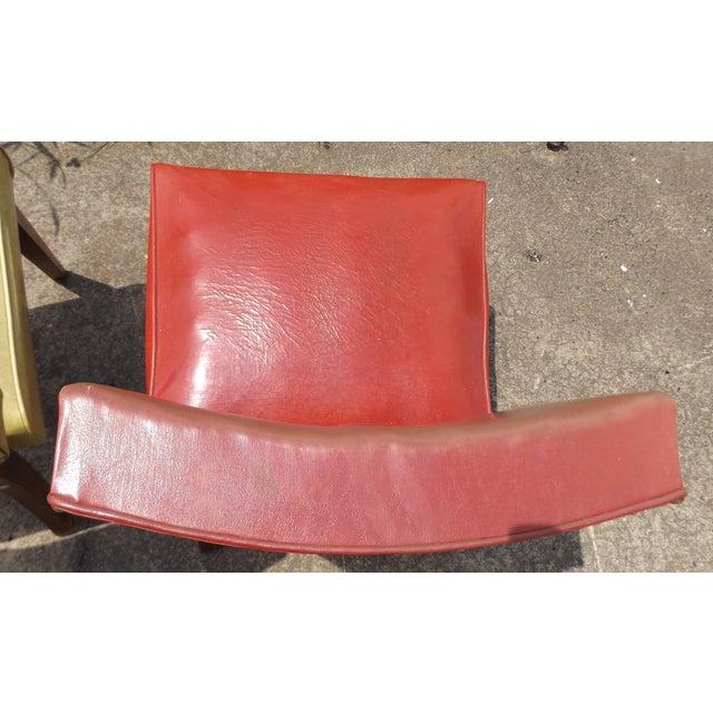 Retro Mid-Century Vinyl Accent Chairs - A Pair - Image 6 of 11