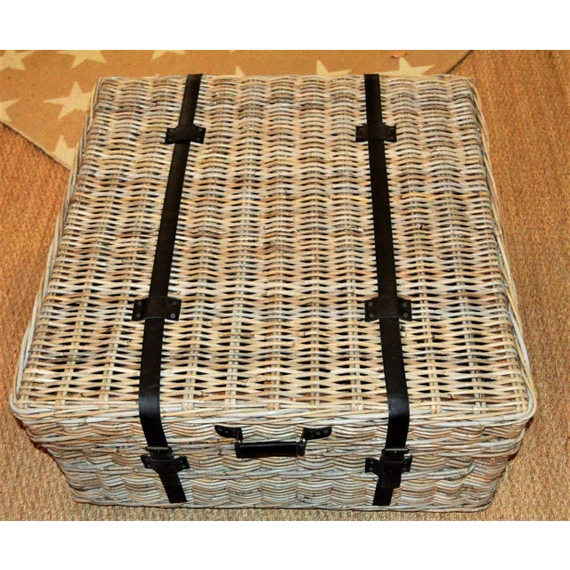 Tan Boho Chic Woven Rattan Coffee Table Trunk For Sale - Image 8 of 13