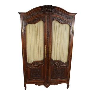 Antique Oak French Provincial Highly Carved Oak Armoire For Sale