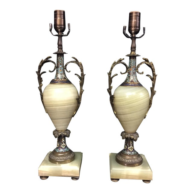 Antique french champleve enamel onyx table lamps a pair chairish antique french champleve enamel onyx table lamps a pair mozeypictures Images