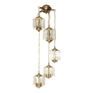 1960s Cascade Swag Lucite Prisms Ceiling Light For Sale