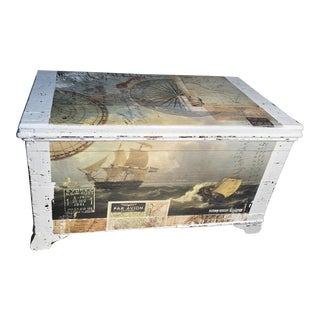 Antique Pine Trunk Sea Captain's Chest For Sale
