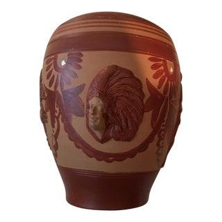 Vintage Aztec Peruvian Folk Art Pottery Vase For Sale