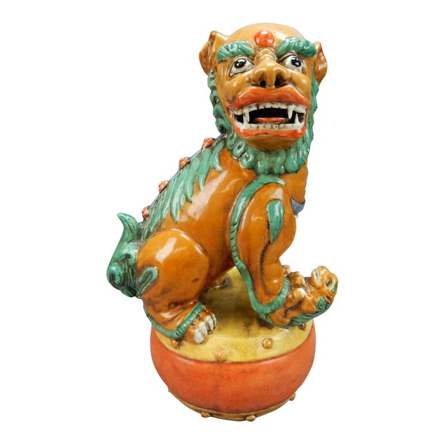 Late 19th Century Antique Chinese Nan King Orange Drip Glazed Female Foo Dog For Sale