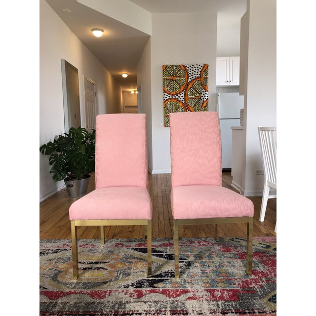 Hollywood Regency Pink Upholstered Dining Chairs - Set of 4 For Sale In Chicago - Image 6 of 6