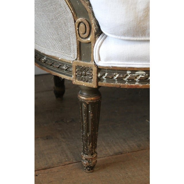 Early 19th Century 19th Century Louis XVI Style French Settee Upholstered in Antique Grain Sack For Sale - Image 5 of 13