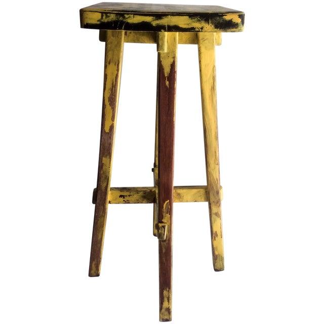 Yellow Distressed Cedro Macho Wood Bar Stool - Image 1 of 8