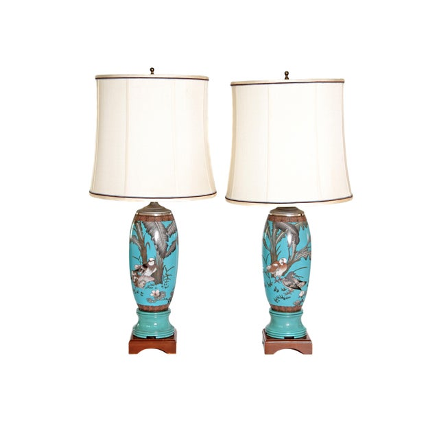 Pair 19th Century of French Cloisonne Lamps - Image 11 of 11