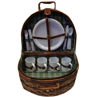 Green Plaid Picnic Basket For Sale