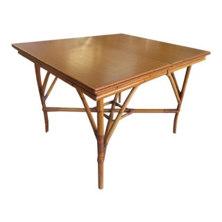 1940's Rattan Extendable Bamboo Dining Table For Sale