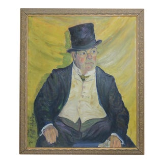 "Early 20th Century Vintage ""The British Gentleman"" Oil Painting on Canvas by Beatrice Windsor For Sale"