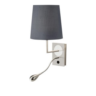 Combination Brushed Nickel-Polished Chrome Wall Light With Shade For Sale