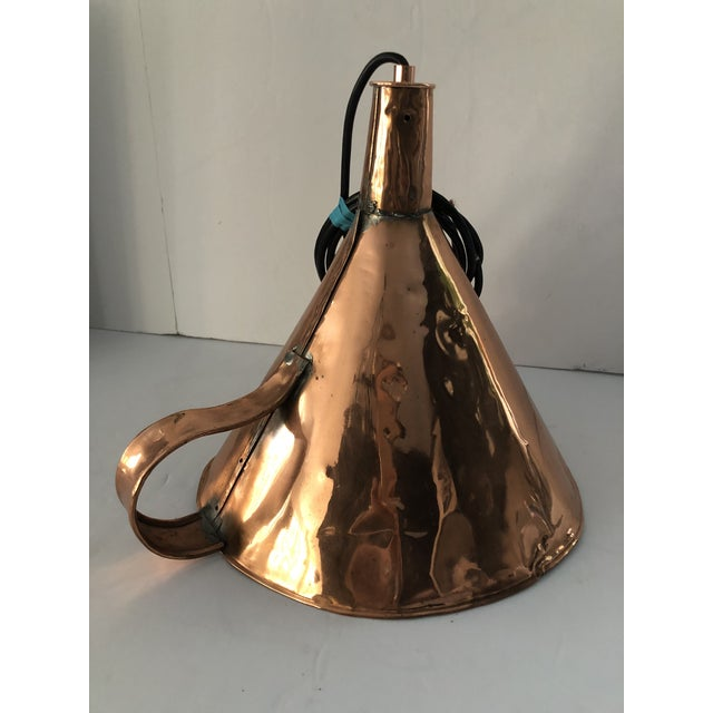 19th Century Antique 19th Century Copper Funnel Light Pendants - Set of 3 For Sale - Image 5 of 13
