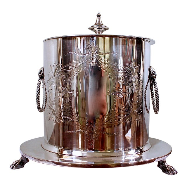 19th Century Silver Plate Biscuit Box, Handsomely Engraved For Sale